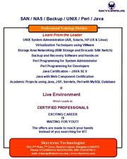 best training centre for SAN|skycirrus domlur |bangalore