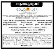 Wanted Marketing Executives in Vayanad - +91-9544194400,  9544184400.