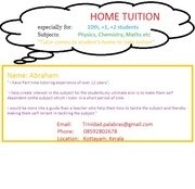 HOME TUTOR(Upto Std 12) COMES TO STUDENT'S HOME AND TAKES TUITION: