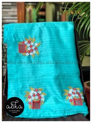 Buy Semi Raw Silk Saree from Alika Fabs