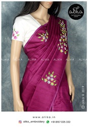 Semi Jute Silk Saree with Hand Embroidery
