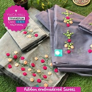 Ribbon Embroidery Sarees by Alika