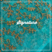 Buy Turquoise Blue Organza Fabric  With Stylish Golden Thread Work