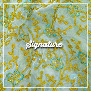 Buy Golden Floral Pattern Organza Fabric With Sequence Work